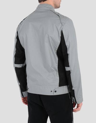Men's biker jacket with perforated side panels