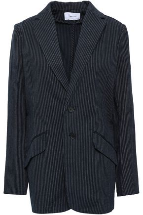 CURRENT/ELLIOTT The Late Night Tripe pinstriped stretch-cotton blazer
