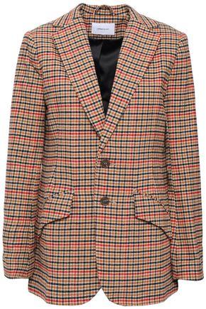 CURRENT/ELLIOTT Houndstooth brushed-cotton blazer