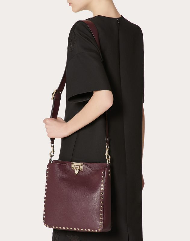 Small Rockstud Grainy Calfskin Hobo Bag