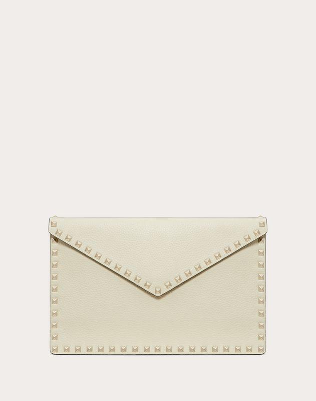 Valentino Garavani Rockstud Large Envelope Clutch Bag In Ivory