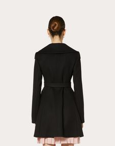 COMPACT DRAP COAT WITH GOLD V BELT