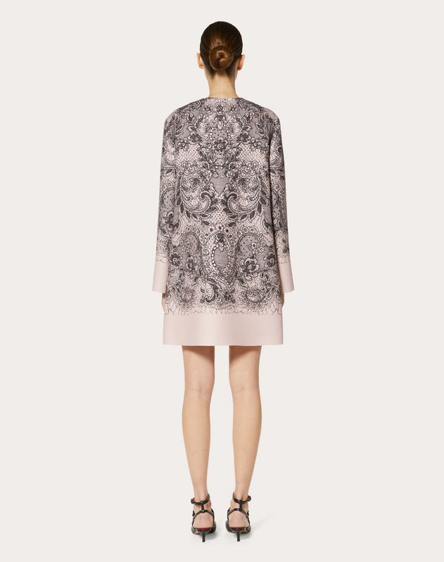 LACE PRINT CREPE COUTURE COAT