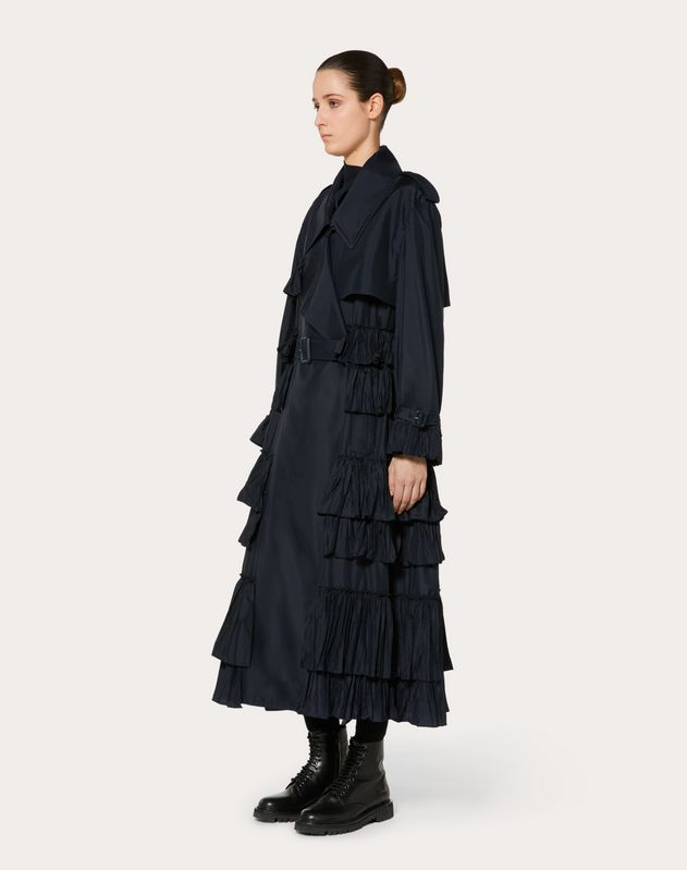 NYLON TRENCH COAT WITH RUFFLES
