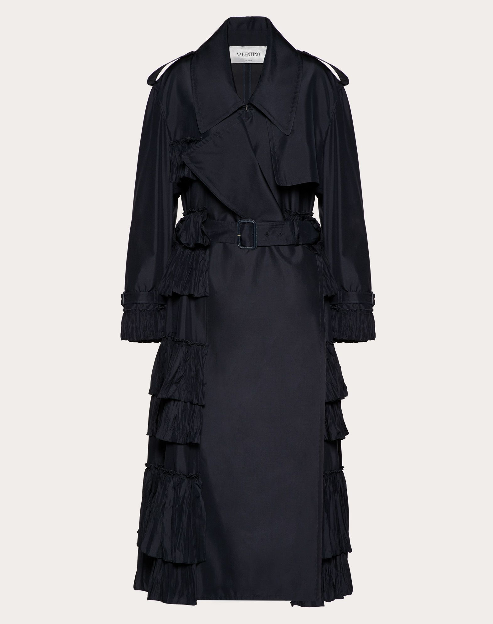 Valentino Nylon Trench Coat With Ruffles In Navy