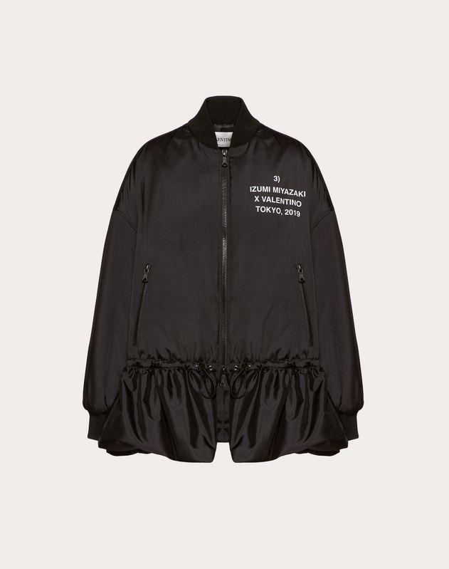 Pea coat with Izumi Miyazaki print and embroidery