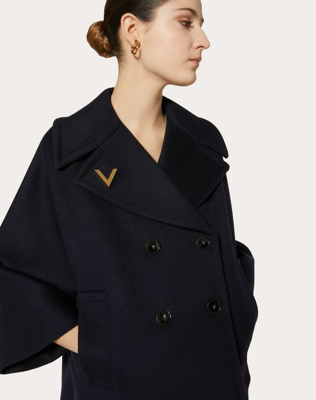 COMPACT DRAP PEA COAT WITH GOLD V DETAIL