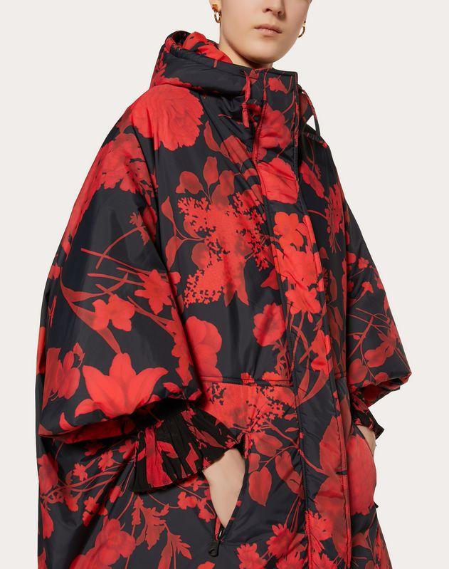 叠印花卉套染尼龙衬垫夹克