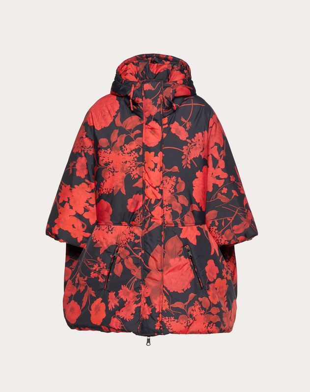 PADDED NYLON JACKET WITH OVERDYED FLOWER PRINT