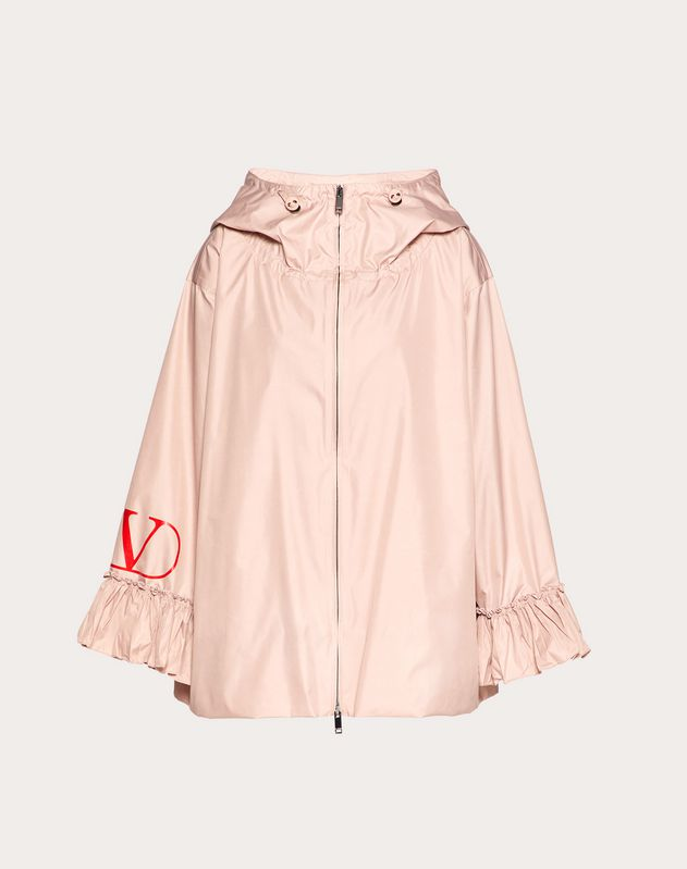 VLOGO NYLON POPLIN PEA COAT WITH RUFFLES