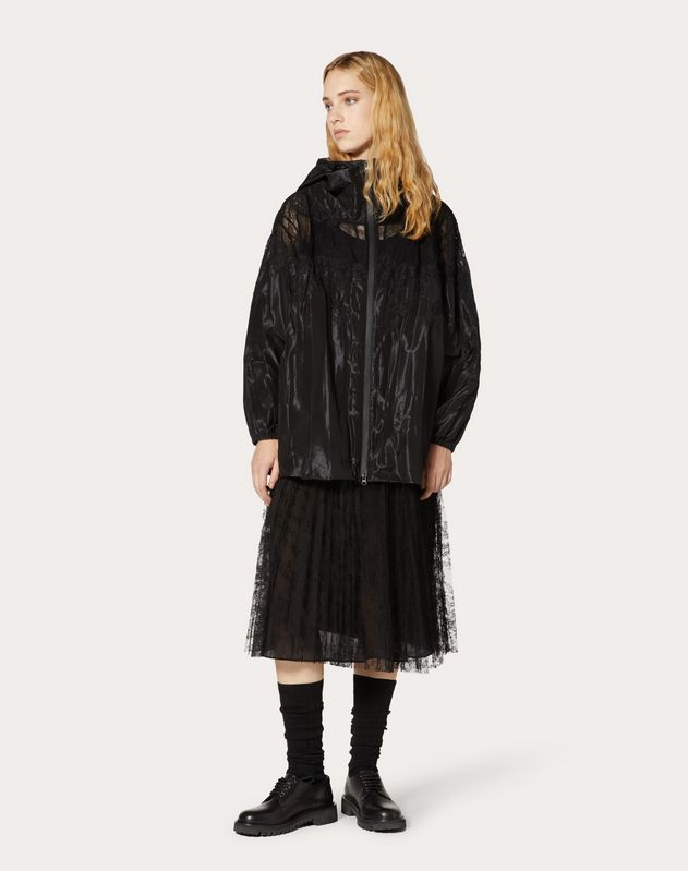 TECHNO TAFFETA AND CHANTILLY LACE PEA COAT
