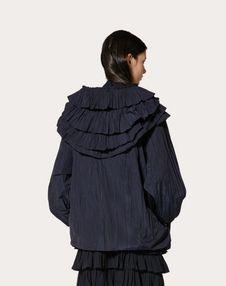 褶饰尼龙卡班大衣