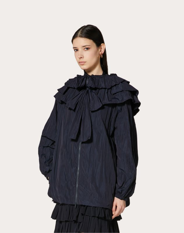 NYLON PEA COAT WITH RUFFLES