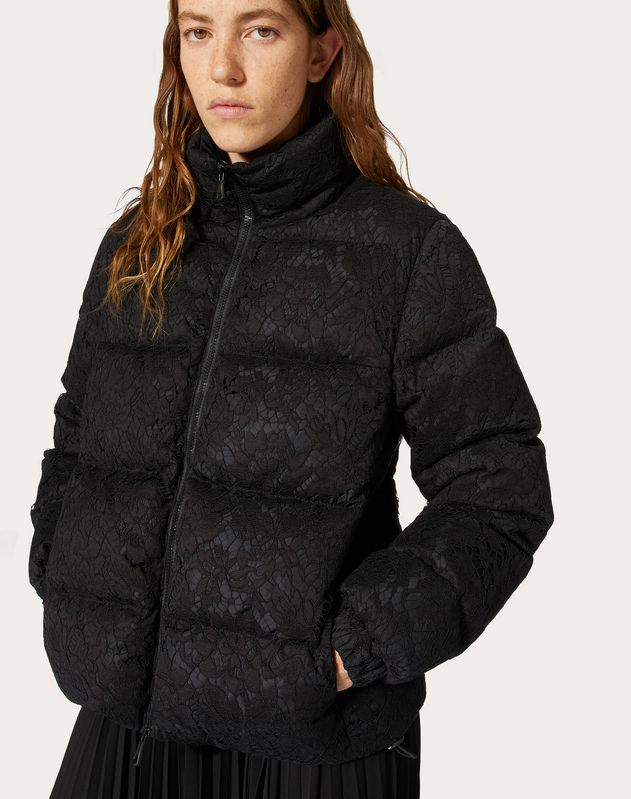 NYLON AND HEAVY LACE PADDED JACKET