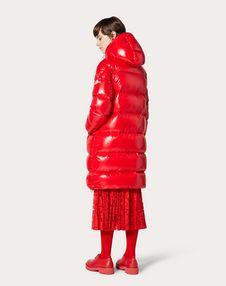 Moncler VLOGO lacquered nylon long padded jacket
