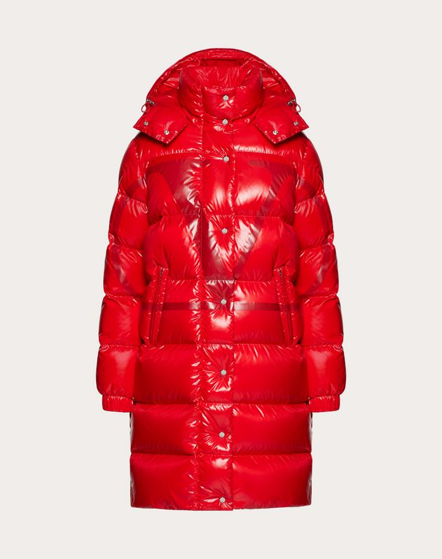 Moncler VLOGO lacquered nylon long padded jacket