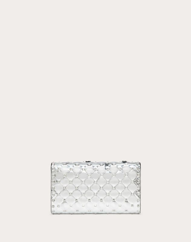 Rockstud Spike.It Metallic Polymer Crossbody Clutch with Flowers