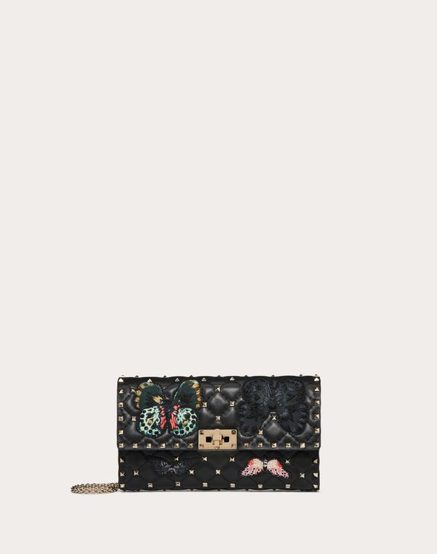 Rockstud Spike.It Crossbody Clutch Bag with Butterfly Patches