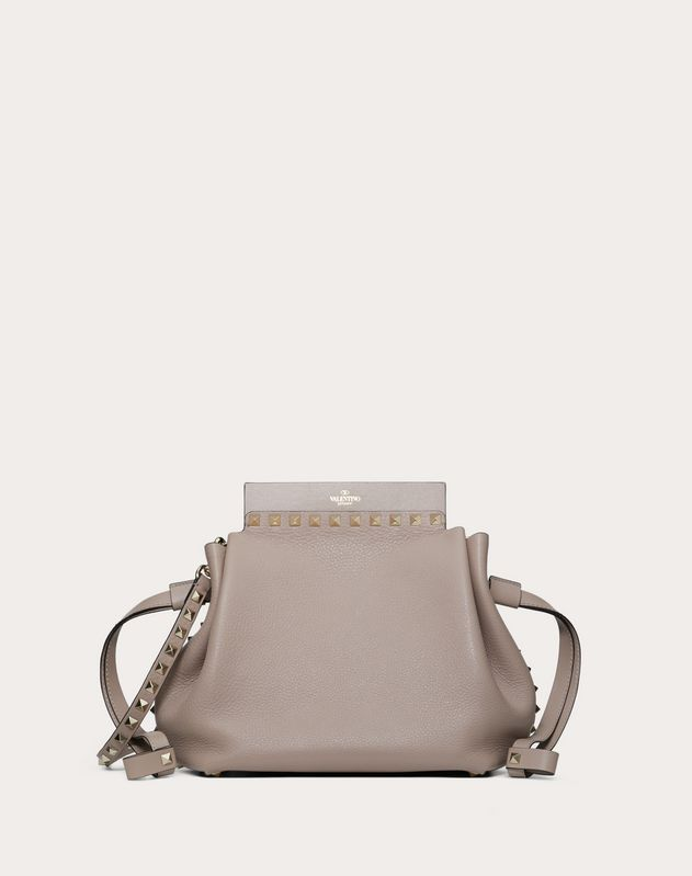 Large Rockstud Grainy Calfskin Bucket Bag
