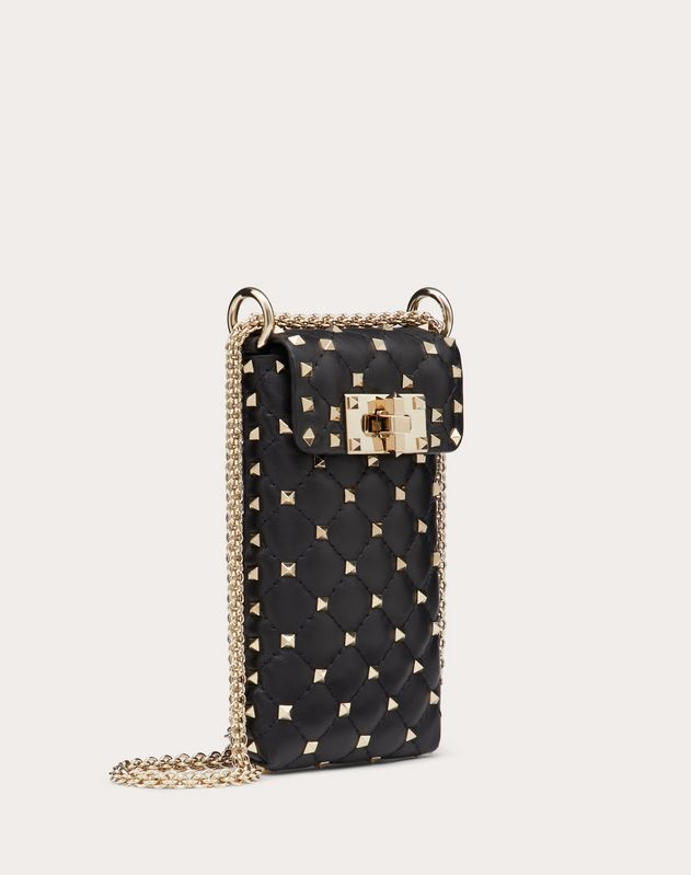Rockstud Spike Nappa Phone Holder with Chain Strap