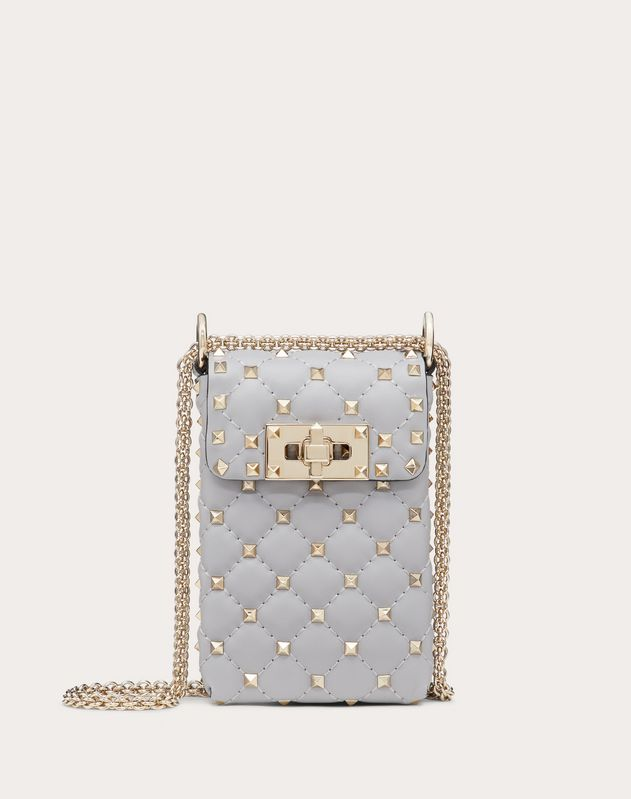 Large Rockstud Spike Nappa Phone Case with Chain Strap