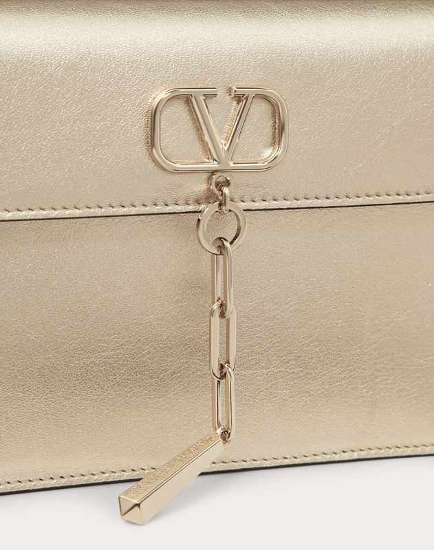 V-Chain Pouch in Metallic Nappa