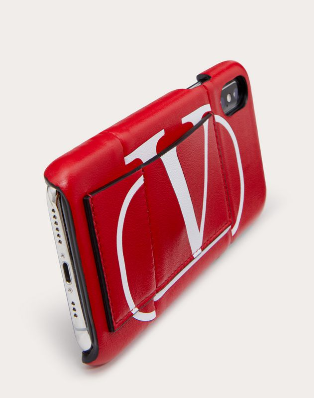 Vロゴ カーフスキンインターシャ iPhone X/XS カバー