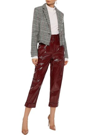 ADAM LIPPES Cropped embellished houndstooth wool-tweed jacket