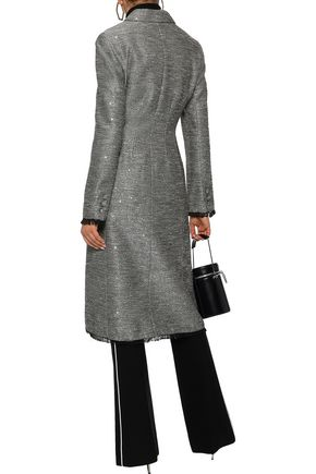 LELA ROSE Double-breasted sequin-embellished woven coat