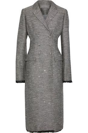 LELA ROSE Double-breasted sequin-embellished woven coat