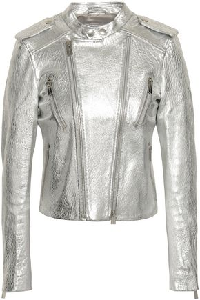 ANINE BING Metallic textured-leather biker jacket