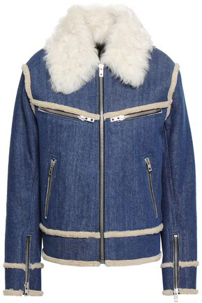 RAG & BONE Andrew shearling-trimmed denim jacket