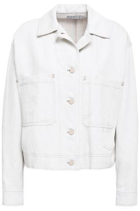 VINCE. Studded cotton and linen-blend denim jacket