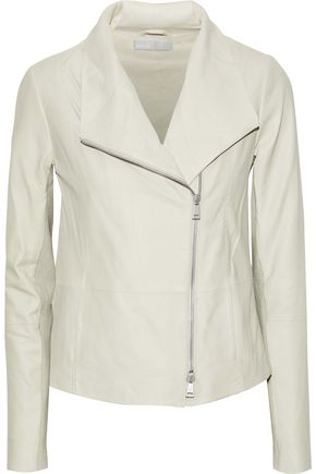VINCE. Wool blend-paneled leather biker jacket
