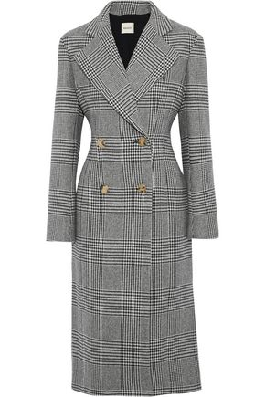 KHAITE Violet double-breasted Prince of Wales checked wool-blend coat