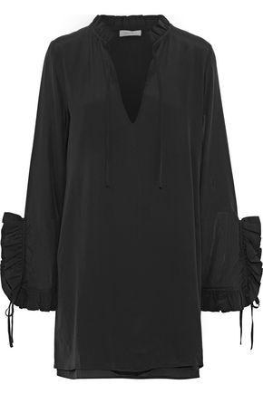 ANINE BING Ruffle-trimmed washed-silk mini dress