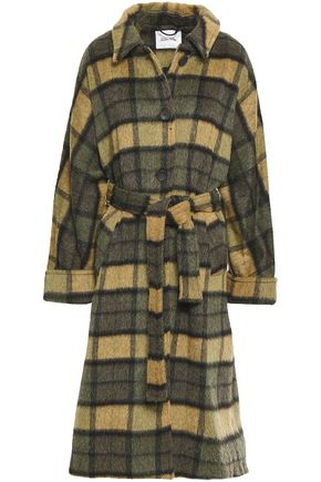 AMERICAN VINTAGE Belted checked wool-blend coat