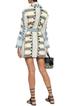 DODO BAR OR Mia embroidered striped cotton-gauze robe