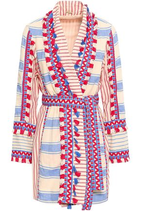 DODO BAR OR Mia embroidered striped cotton-gauze robe