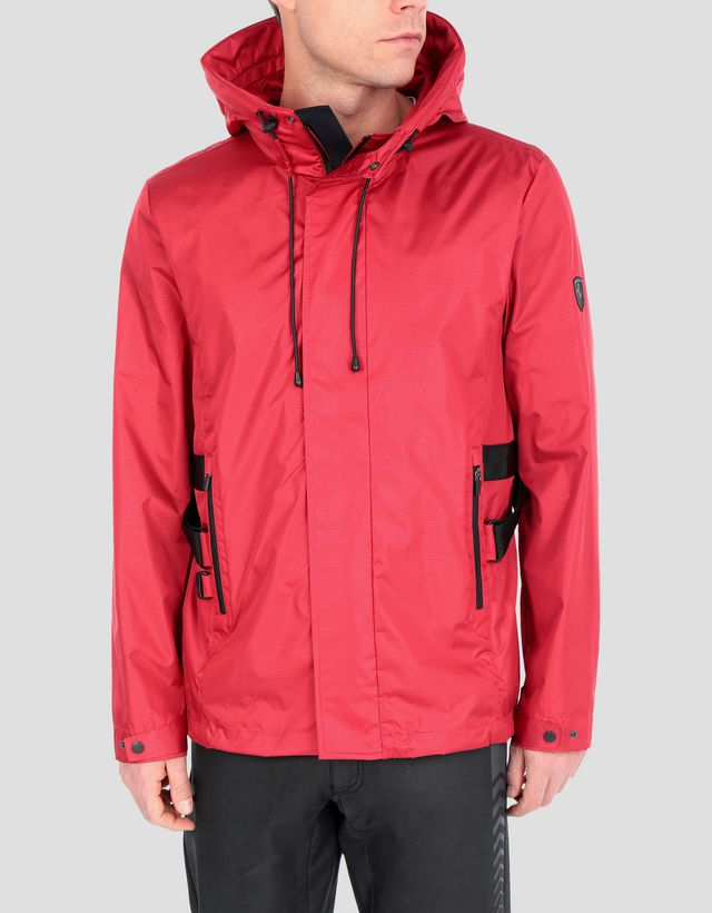Scuderia Ferrari Online Store - Men's hooded water resistant CARBONX jacket - Bombers & Track Jackets