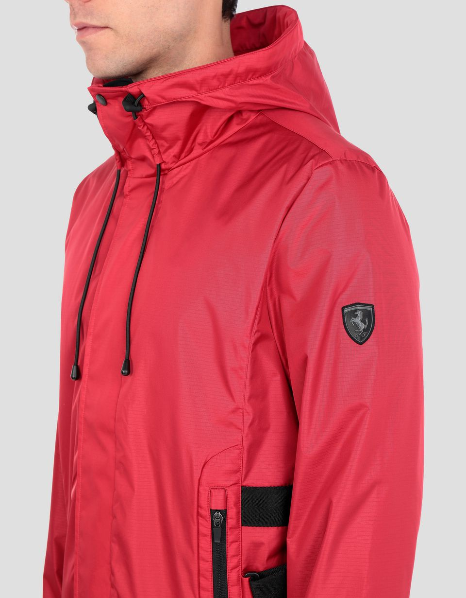 Scuderia Ferrari Online Store - Men's jacket in CARBONX, water resistant with hood - Bombers & Track Jackets