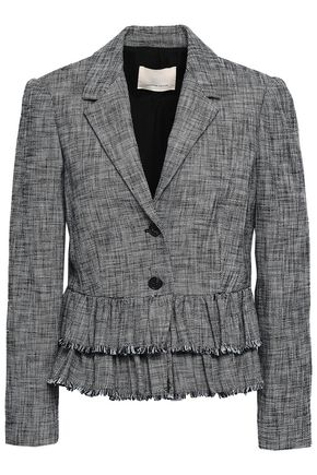 REBECCA TAYLOR Frayed tiered cotton-blend tweed blazer