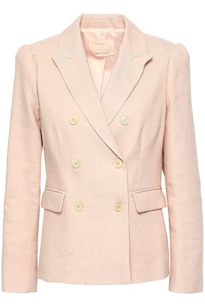 REBECCA TAYLOR Double-breasted slub linen-blend blazer