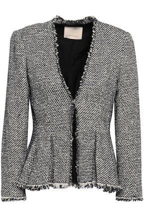 REBECCA TAYLOR Frayed cotton-blend tweed peplum jacket