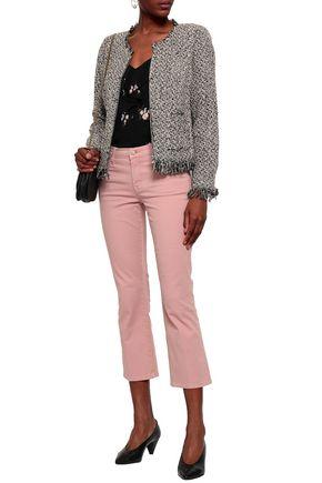 REBECCA TAYLOR Fringed cotton-blend tweed jacket