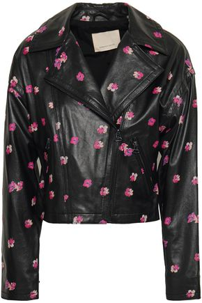 REBECCA TAYLOR Floriana floral-print leather biker jacket