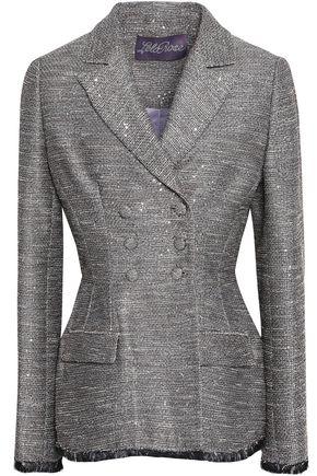 LELA ROSE Double-breasted sequin-embellished tweed peplum blazer