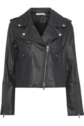 REBECCA MINKOFF Patti cropped coated-denim biker jacket