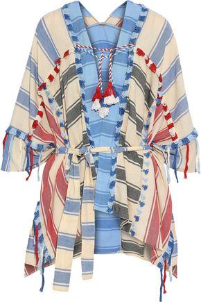 DODO BAR OR Tassel-trimmed striped cotton-gauze poncho