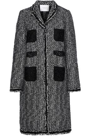 GIAMBATTISTA VALLI Guipure lace-paneled sequin-trimmed bouclé coat